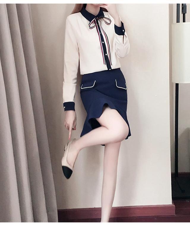 2018新款女装春装潮春季雪纺上衣百褶短裙时髦软妹两件套装