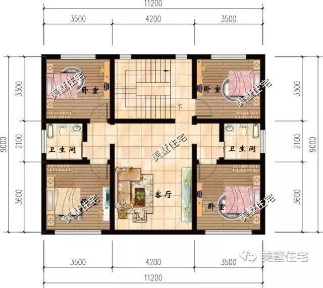 这是三层平面设计图,设有客厅,四间卧室和两个卫生间.