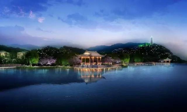 东谷湖湖心岛夜景效果图