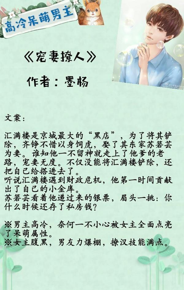 推荐五部男主高冷呆萌的小说清冷矜贵难靠近萌趣可爱天然呆!