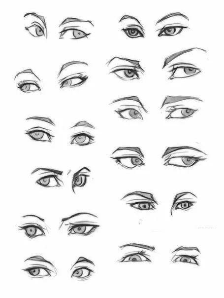 哭着的眼睛是流泪的~ 来学画一下 用画笔画出来的漫画眼睛 一共30张