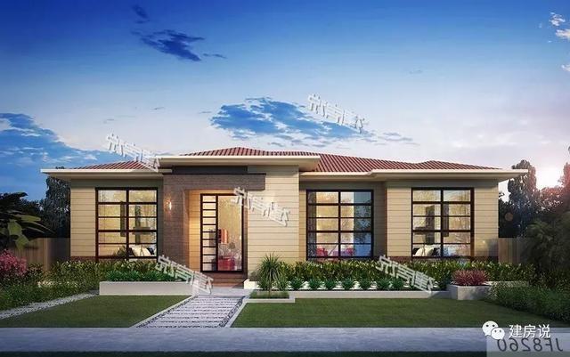 20x17一层农村别墅,带露天花园 车库 柴火房,最美的养老别墅