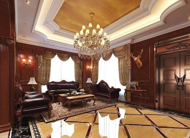 看上去十分舒适在木质的扶墙板墙面和浅色地砖拼花的衬托下很有美式图片