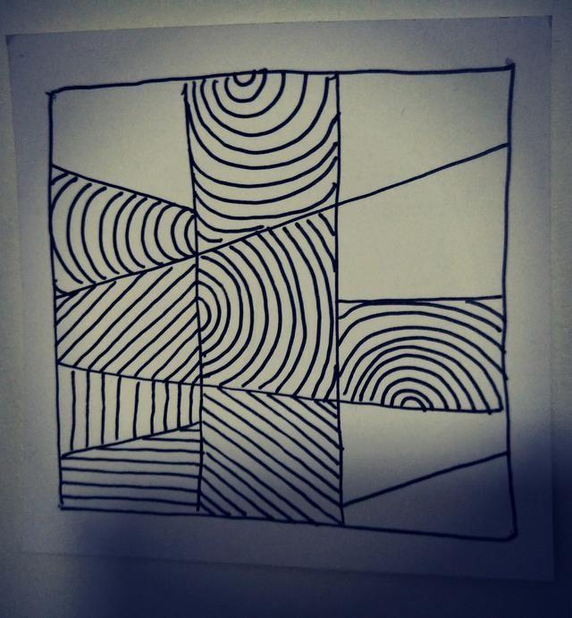 跟我一起学禅绕画直线曲线s线图片