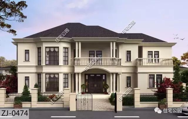 第八套:舒适的主卧套间设计,13x23米法式农村别墅 占地尺寸:23.