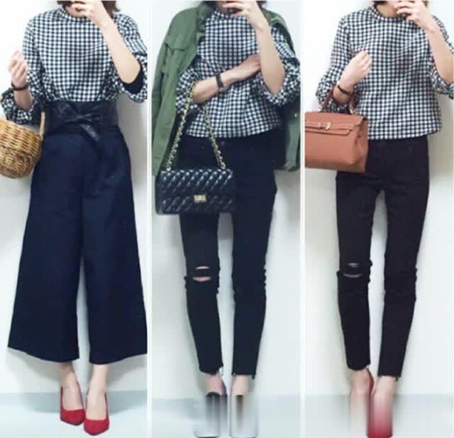 浅焦糖针织衫搭配牛仔裤与小黑鞋,简洁利落适合小个子女生选择.