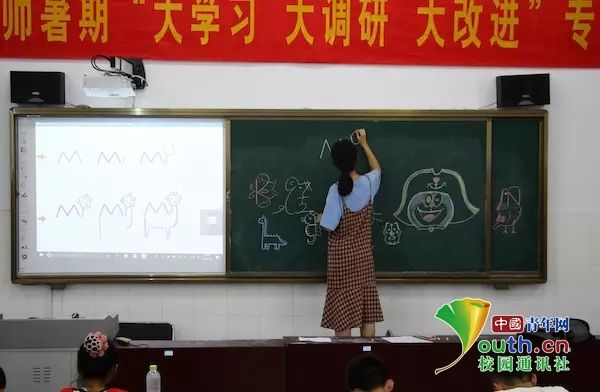 课程伊始,孟艳云老师在黑板上向大家展示了几种小动物的简笔画法,引得大家掌声连连,成功引起了同学们的绘画兴趣.