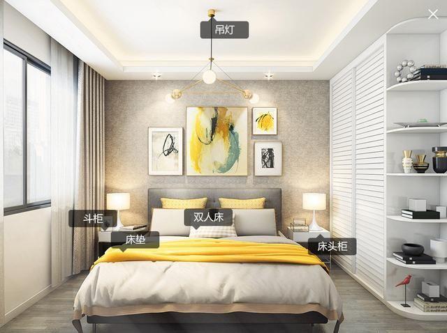 北欧简约现代家居装修风格的主卧室场景效果图