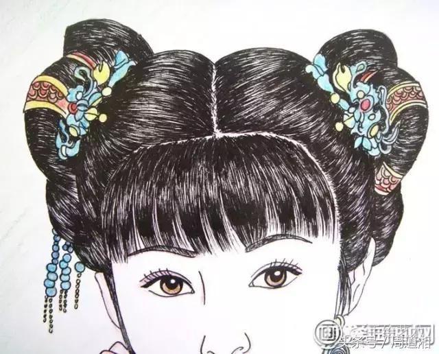 中国古典美女头像彩色铅笔画绘画步骤09:接下来,上面的头发,和刚才的