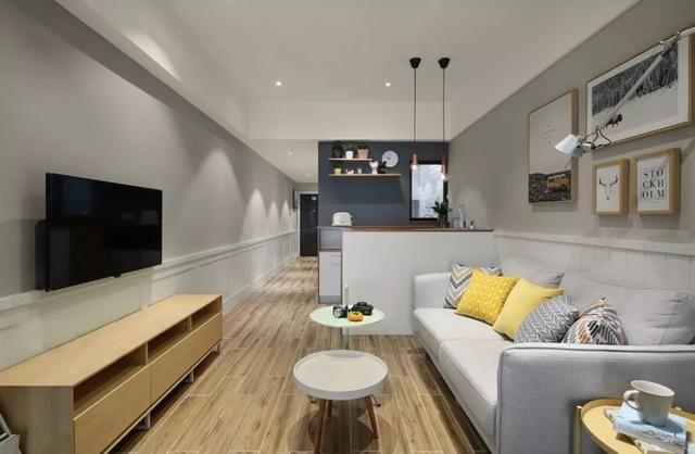 40现代北欧,玻璃隔开卧室与客厅,小公寓装得也宽松