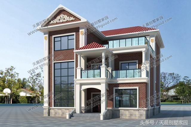 漂亮复式两层半自建房设计图,采用框架结构.