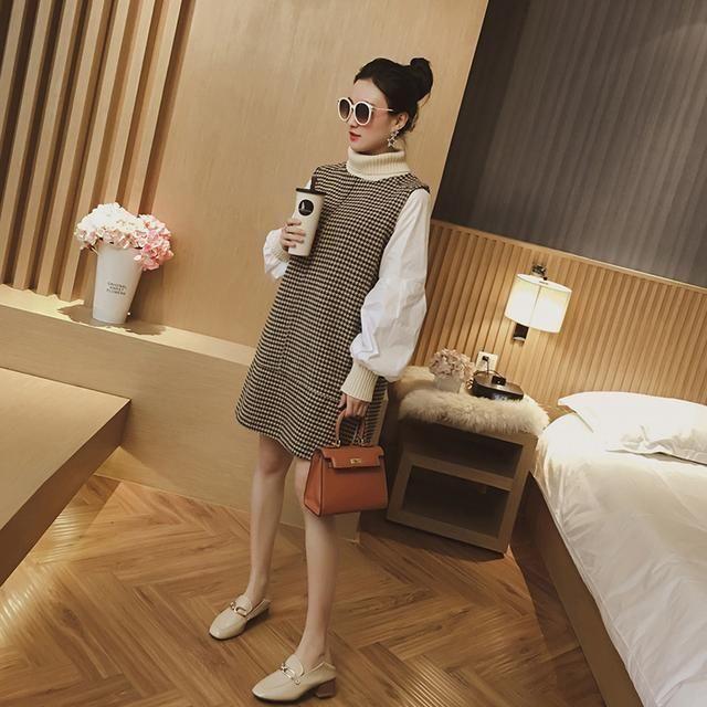 秋冬季穿这样的连衣裙修饰身形比例很显高瘦哦!