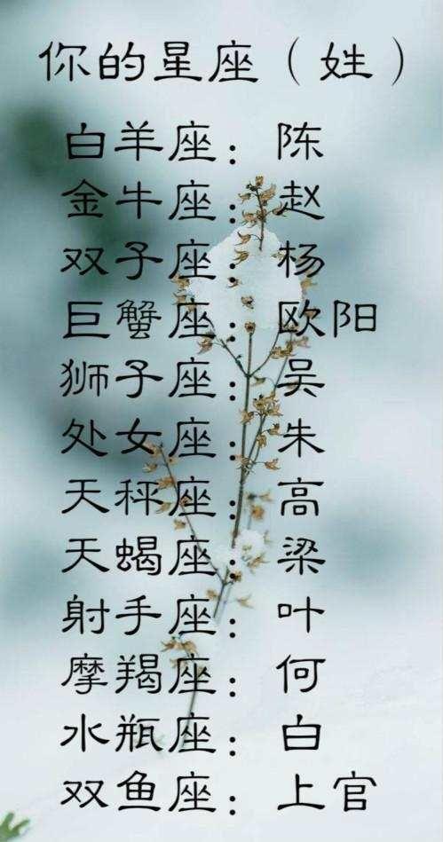 你的星座(姓)白羊座:陈金牛座:赵双子座:杨巨蟹座:欧阳狮子座天蝎座女v星座后会跑娘家吗图片