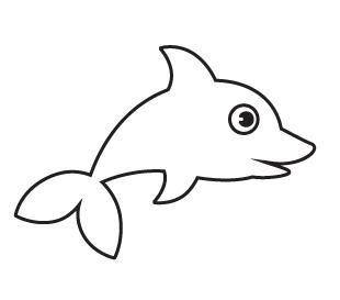 儿童简笔画教程:蓝色卡通小鲸鱼,3岁的孩子也图片