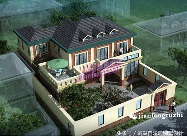 38万15x15米带庭院二层简欧式别墅设计图含效果图平面
