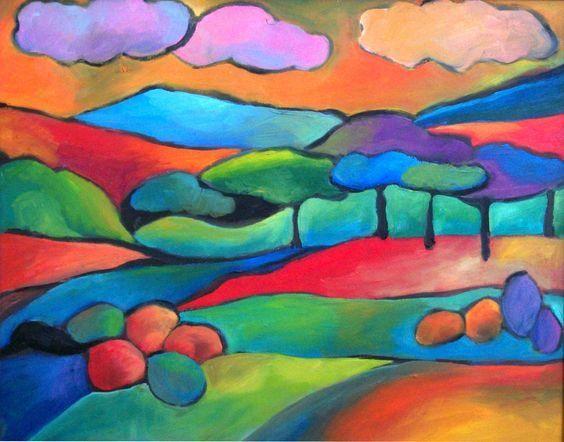 兒童創意美術作品:戶外風景與多種小房子繪畫