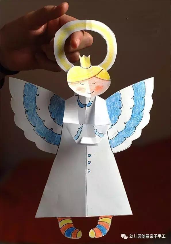 幼儿园卡纸创意吊饰教程,暖心手工小天使,悄悄把爱送给孩子
