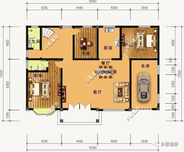 3米 一层平面图: 设有:客厅,餐厅,厨房,二卧室,书房,二卫生间,车库.