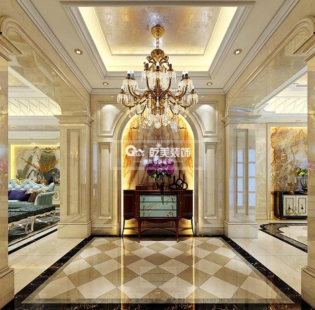 本案作品从浪漫优雅的欧式和古典的法式中提炼出经典元素,从复杂到简洁精巧的结合在一起。业主是位追求完美的人,喜欢欧式的罗马柱和石材,所以设计师也在一些细节方面做了精致的处理,从整体到局部,精雕细琢,使各个空间的过度都显得非常自然和谐。搭配欧式的家具,让空间兼容华贵典雅与时尚现代,米黄色的整体色调,带来欣赏性极强的视觉效果,并具有一种欧式的典雅与尊贵感。古典欧式的风格融入现代生活元素,使空间不仅豪华大气,更具有一种浪漫惬意的大气。  都铎城邦别墅装修  都铎城邦别墅装修 整体上的空间装饰设计映射出欧式文化底蕴