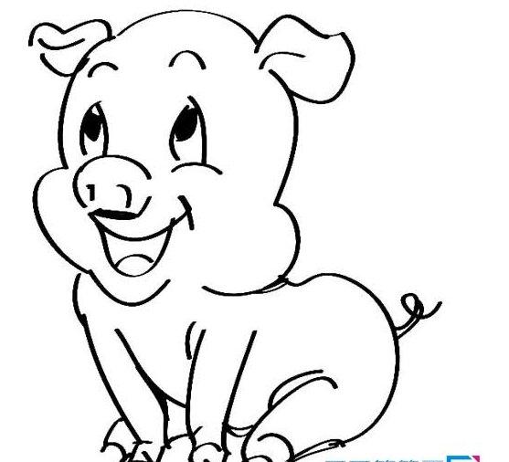 卡通小猪简笔画图片简单又可爱,让我们一起来