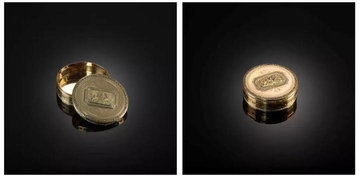 金錾刻西洋卷草纹动物图圆盒  18世纪