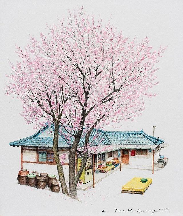 接下来小编献上一组水彩风景教程步骤 最后我们来欣赏一下韩国插画师