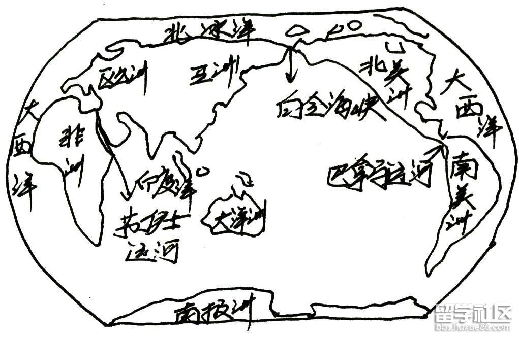 美洲地形图简笔画