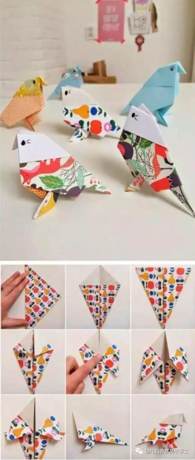 十个幼儿园折纸手工教程:樱花爱心千纸鹤等,简单易学为孩子准备