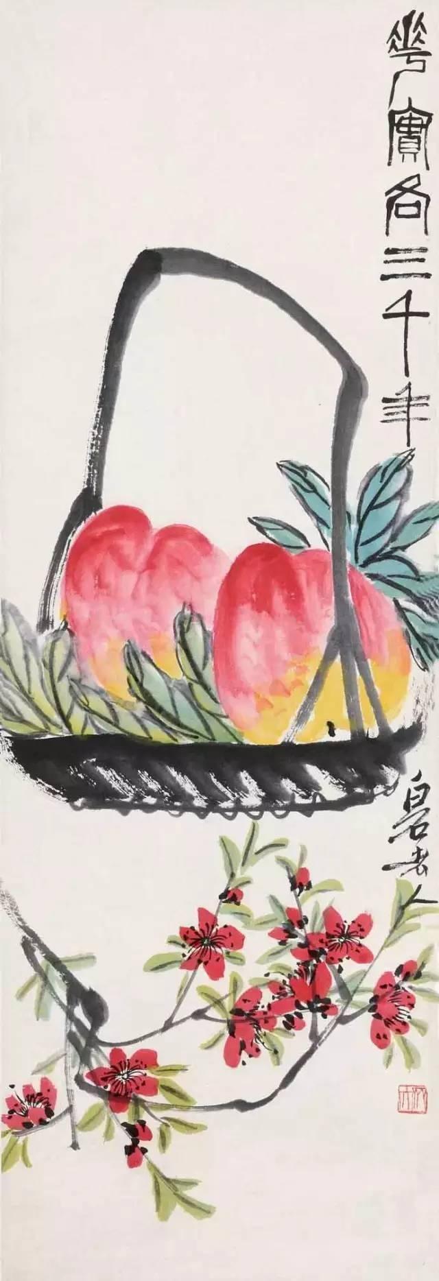 国画大师齐白石《寿桃图》 其中寿桃,尤为重要。民间供奉的福禄寿三星的寿星为白须老翁,持杖,额部隆起,手捧仙桃。民间认为供奉这位仙神,可以使人健康长寿。一直到现代的祝寿活动中,给家里老人祝寿,尊其为寿星,设寿堂,挂寿幛,摆寿面、寿果和寿桃,寿桃一直都是必备的。 作为点题标志,国画寿桃作品,是给老人祝寿送礼的极佳选择。