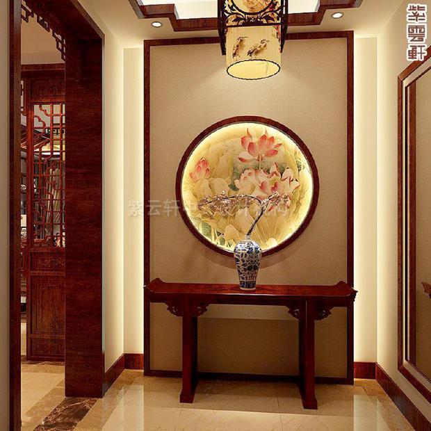 中式装修时入户门对客厅,玄关可以这样设计!