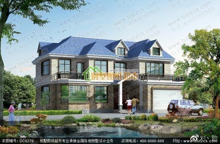 双车库二层农村别墅设计效果图纸图片