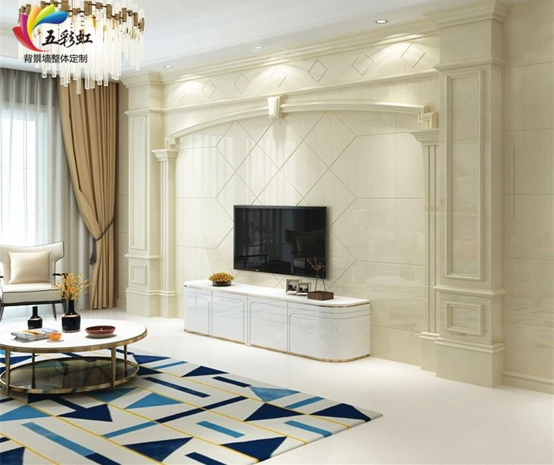 2018年电视背景墙装修潮流,石材边框造型电视背景墙!