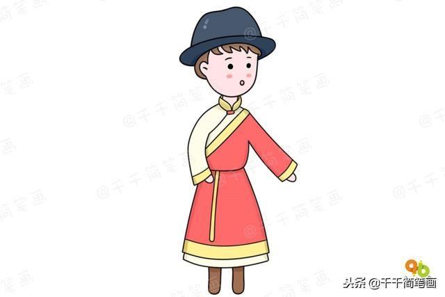 名族服装简笔画图片_傣族服装简笔画
