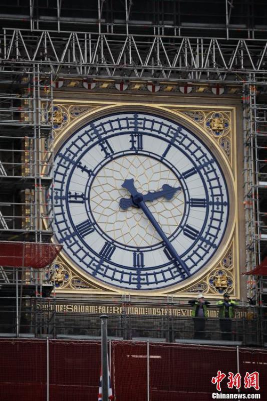 英国大本钟新面貌回归本色 蓝金搭配显精致