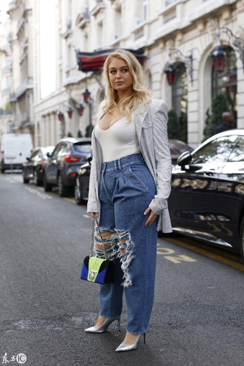 微胖超模伊斯克拉劳伦斯巴黎街头