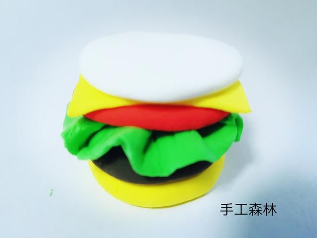 超轻粘土手工制作教程图解美味的汉堡