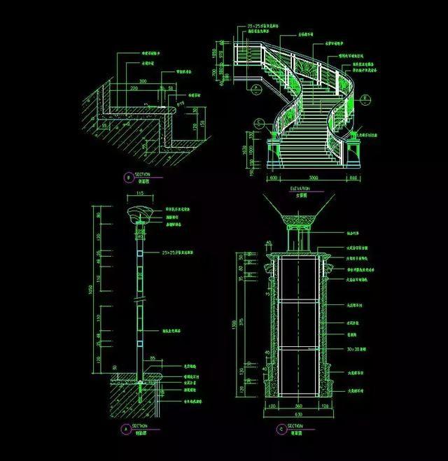 室内设计玄关:120套资源详细CAD施工图+CA图楼梯立面cad图片