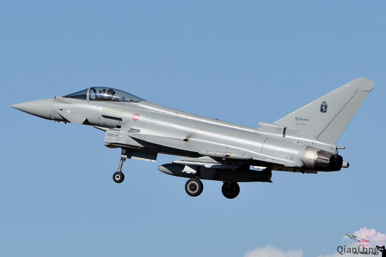 """意大利空军的""""台风""""战斗机训练 挂的导弹和英国的不一图片"""
