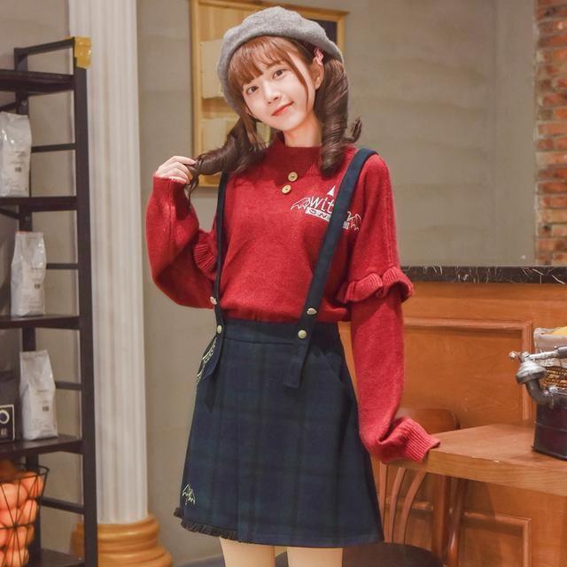 森女部落甜美高领打底毛衣_2018新款日系女装