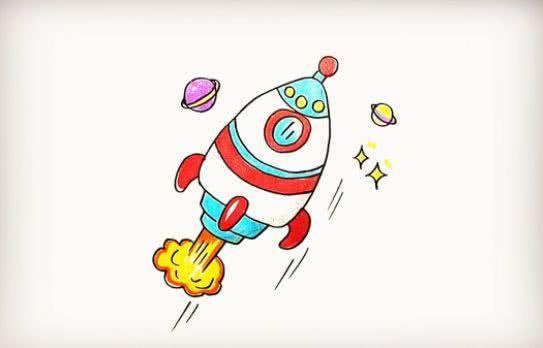 手把手教你画炫酷的火箭,步骤简单,小孩子也能轻松学会!