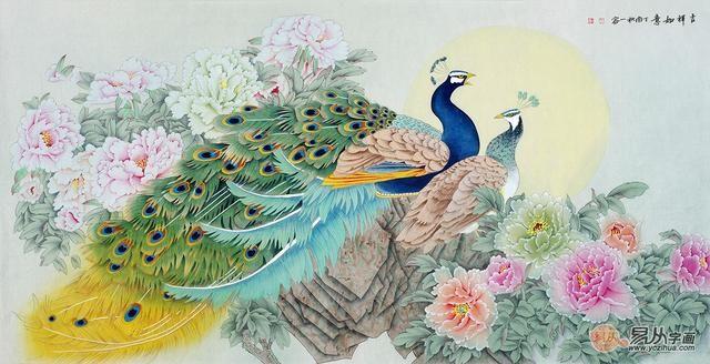 实力派画家王一容孔雀牡丹图《吉祥如意》(作品来源:易从网)