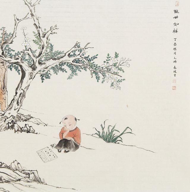 严春暖情趣情趣浓厚清丽,问题淡雅,富有生活教师国画古意生活的人物图片