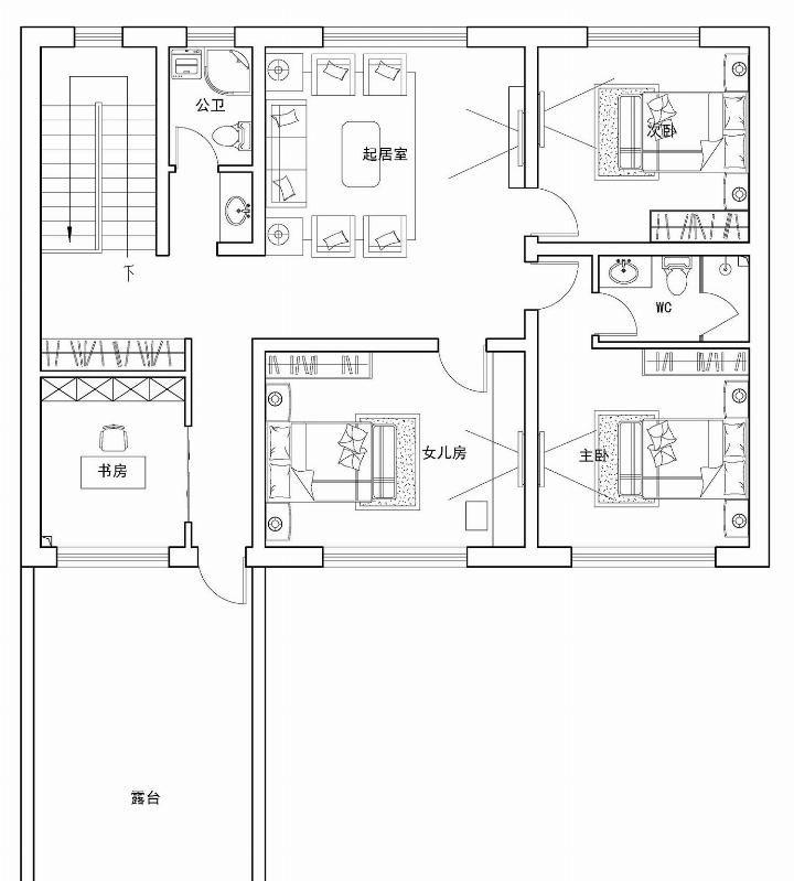 淡雅的新中式初稿,非常合理的别墅,一家人享受层布局别墅三图片
