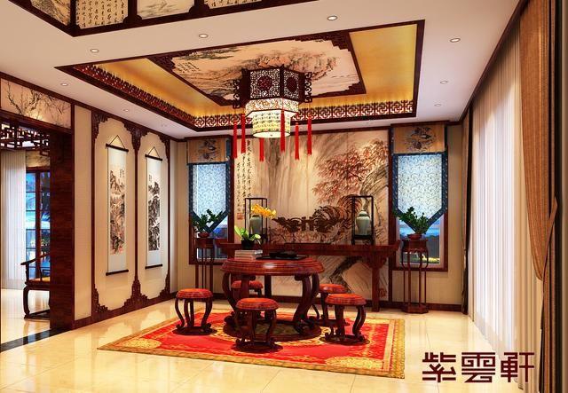 传统古典中式别墅茶室装修效果图,设计师以中国传统古典中式文化作