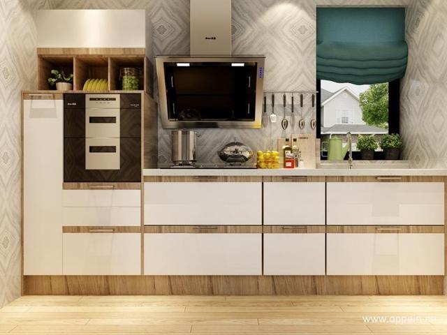 一字型橱柜与户型完美贴合,地柜与高立柜搭配,提供了丰富的收纳空间。家电内嵌节省了有限的厨房面积,墙面空间不够,舍弃吊柜设计非常合理。