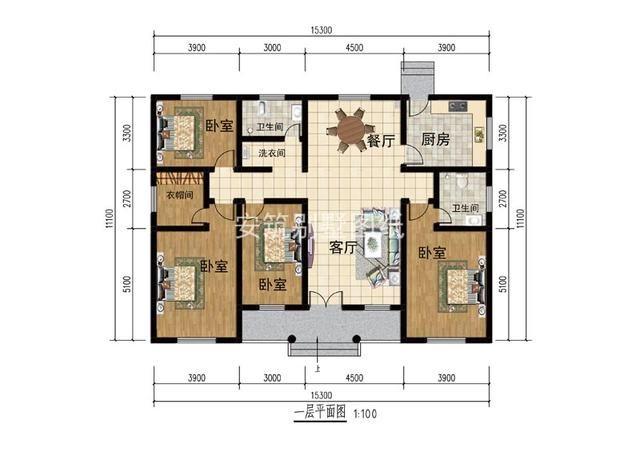 造价新中式一层别墅大面,图纸宽图纸,农村低又家户光伏安装户型图片
