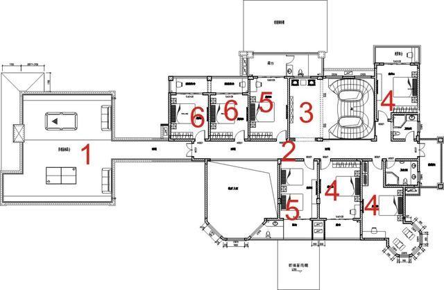 中式别墅设计,私人会所,二楼平面布置