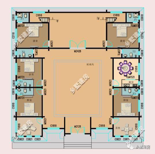 40万左右; 一层平面设计图:一楼设有五间卧室,一间茶室,再是客厅,厨房