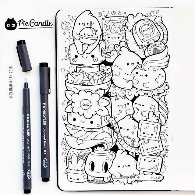 一组超可爱针管笔手绘简笔画,留着当临摹素材最好了!