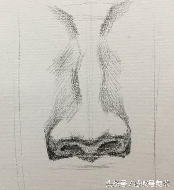 我们来看下,鼻梁的位置我们就把他理解成上小下大的长方体和一个下小上大的长方体相连接,鼻头以及鼻翼则理解成一个凸形体,和楼梯一样感觉。这就是鼻子的大体的结构 有了大体结构就开始分朝向面,面朝下面的鼻底是最暗的,面朝两边的侧面则为灰面,面朝上面的则为亮面。这样我们就能绘画出鼻子的最大的体积以及结构。  侧面的鼻子